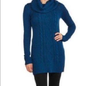 Faded Glory Blue Cowl Neck Tunic Sweater Medium